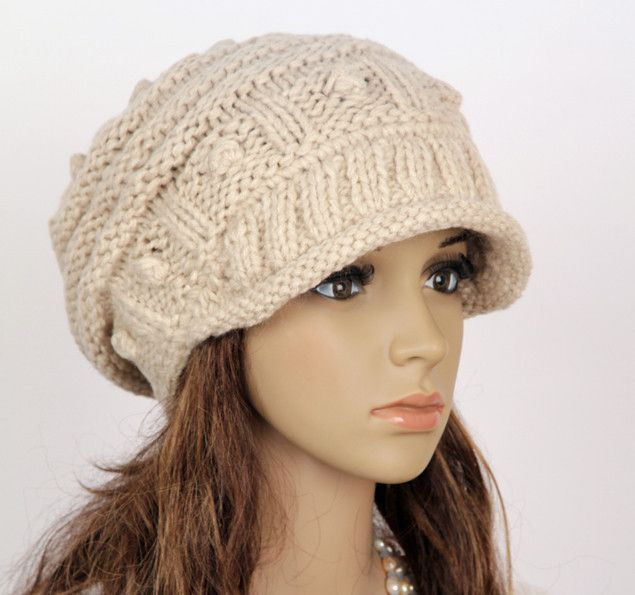 Slouchy Cabled Hat in Beige #black #cap #clouchy #crochet #handmade ...
