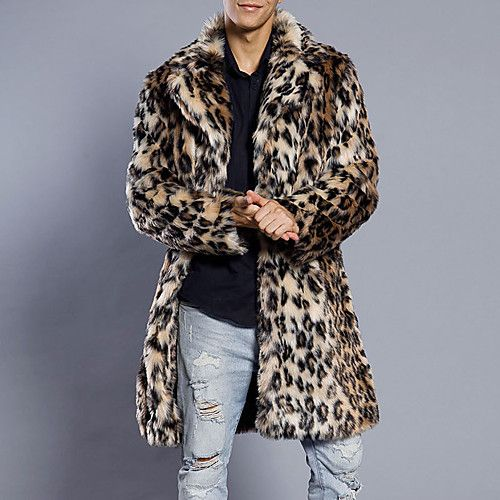 32484380a4 Men's Daily / Weekend Street chic Winter Plus Size Long Fur Coat, Leopard  Notch Lapel
