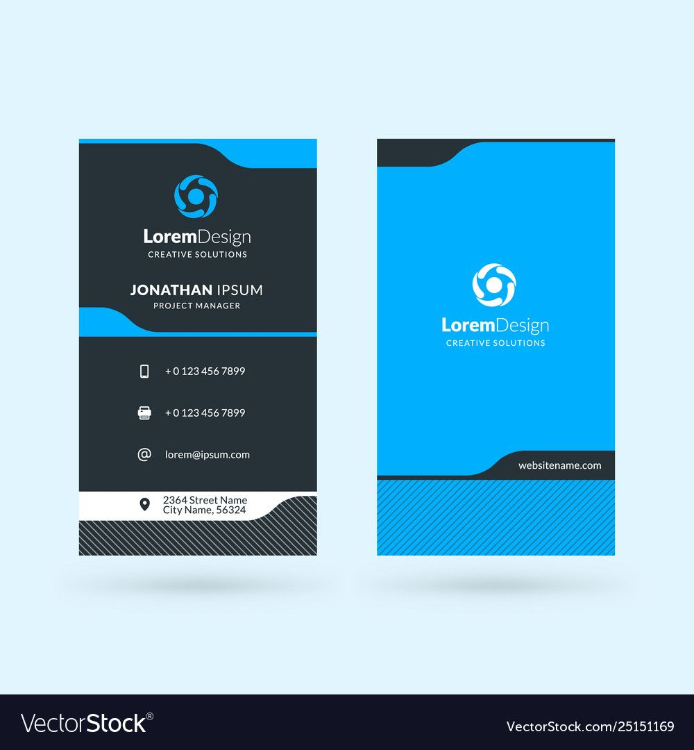 Vertical Double Sided Business Card Template Intended For Double Sided Business Card Te Double Sided Business Cards Business Card Template Vector Business Card