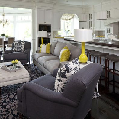 Gray Yellow Contemporary Living Room Design Pictures Remodel Decor And Ideas