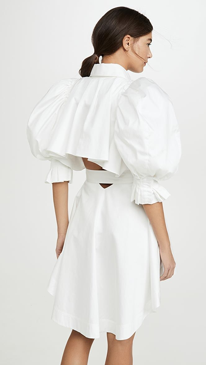 Aje Eucalypt Puff Sleeve Shirt Dress white size 6 | The Volte
