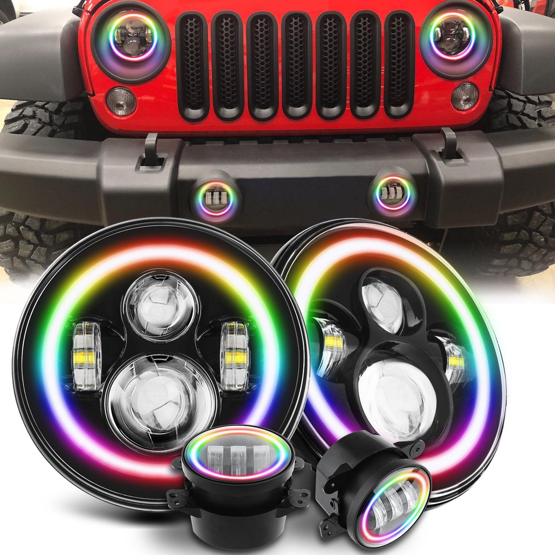 Jeep Wrangler Rgb Halo Chasing Led Headlight Fog Light Set Jeep