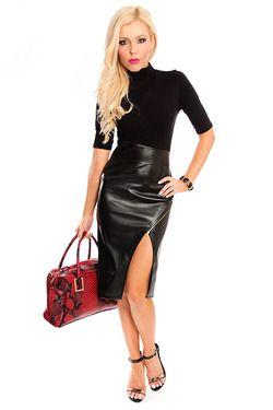 black vegan leather asymmetrical midi dress :clothes : dresses