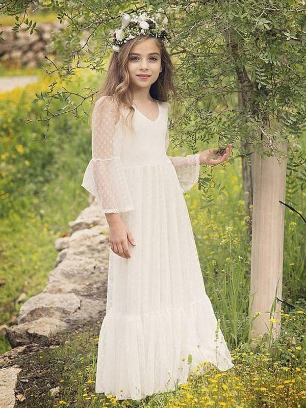 Vintage Wite Ivory Lace Flower Girl Dress First Communion ...  Ivory Lace Vintage Flower Girl Dress