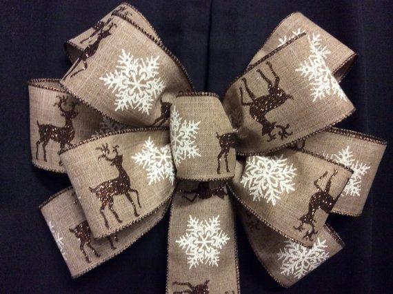 Reindeer Bow, Rustic Bows, Snowflake