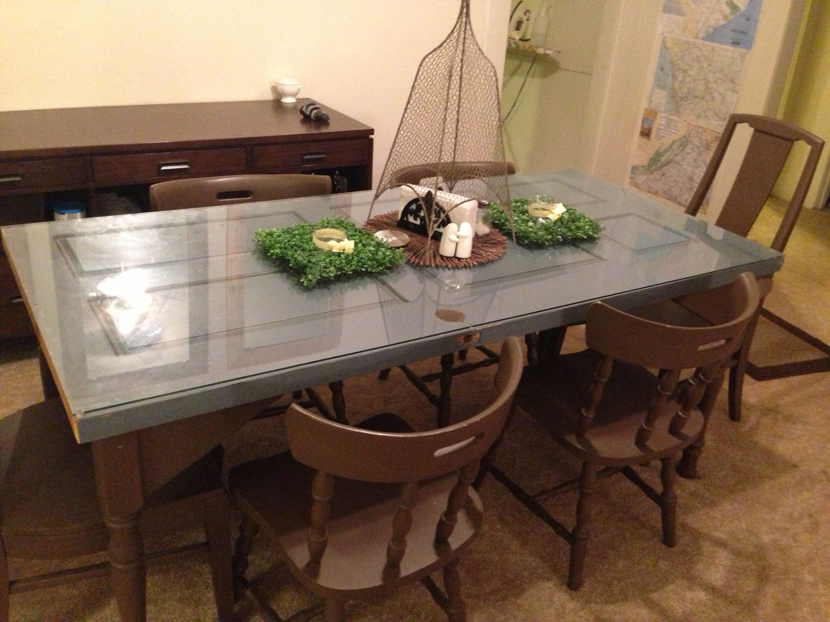Made our dining room table out of an old door house things