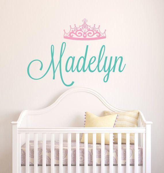 Personalized name wall decal crown name decal baby girl name decal nursery wall decal princess tiara girls room wall art
