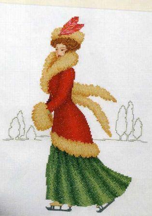 0 point de croix femme en manteau hiver patinant - cross stitch vintage lady in fur coat ice skating