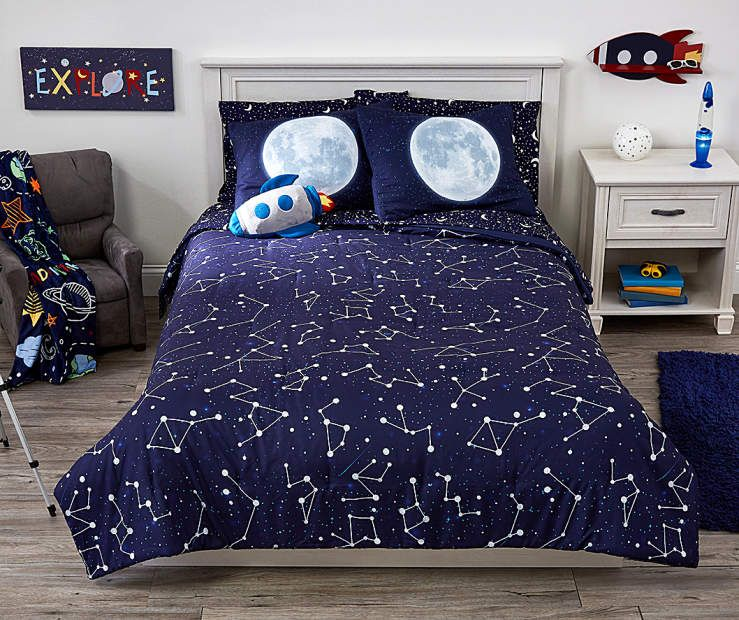 Dream Street Navy Blue Constellation Twin Full 3 Piece Comforter