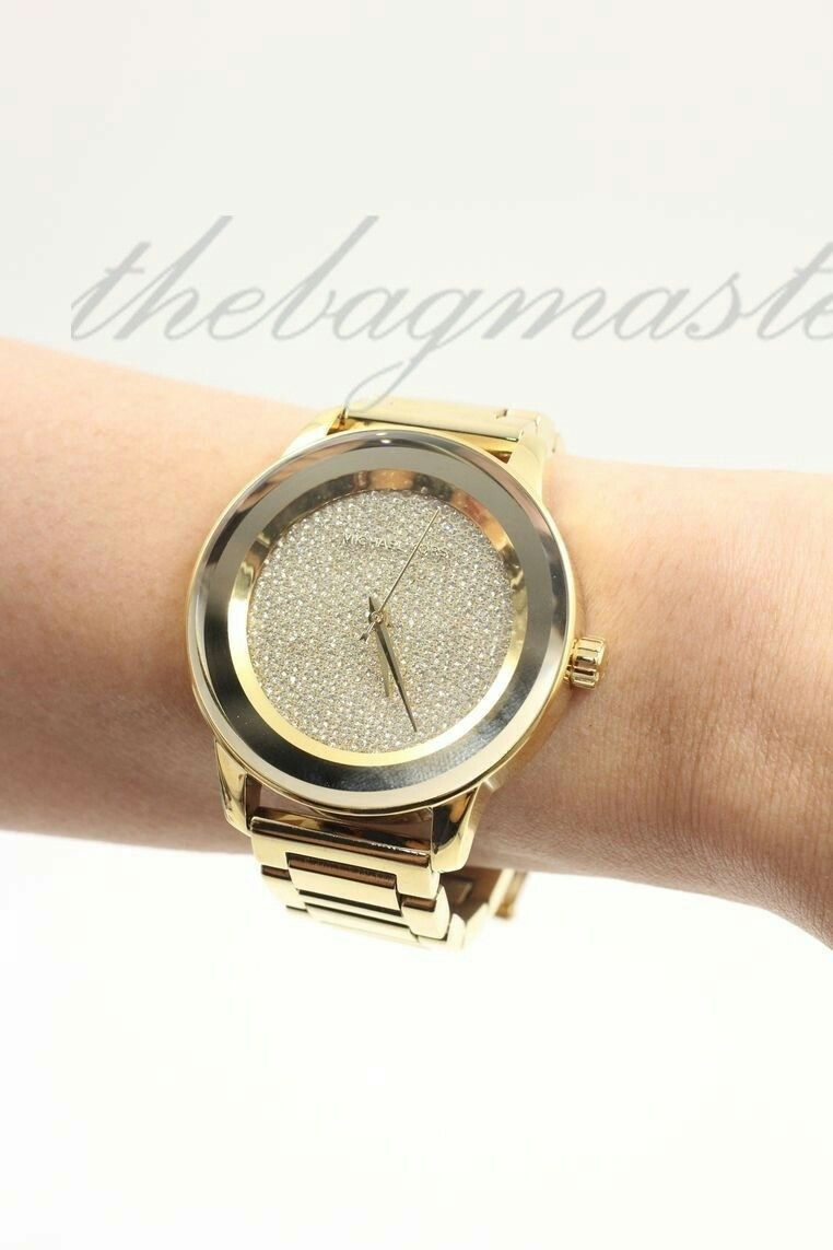 85995e390c75 Michael Kors Kinley Pavé Dust Dial Gold Tone Watch MK6209 ...
