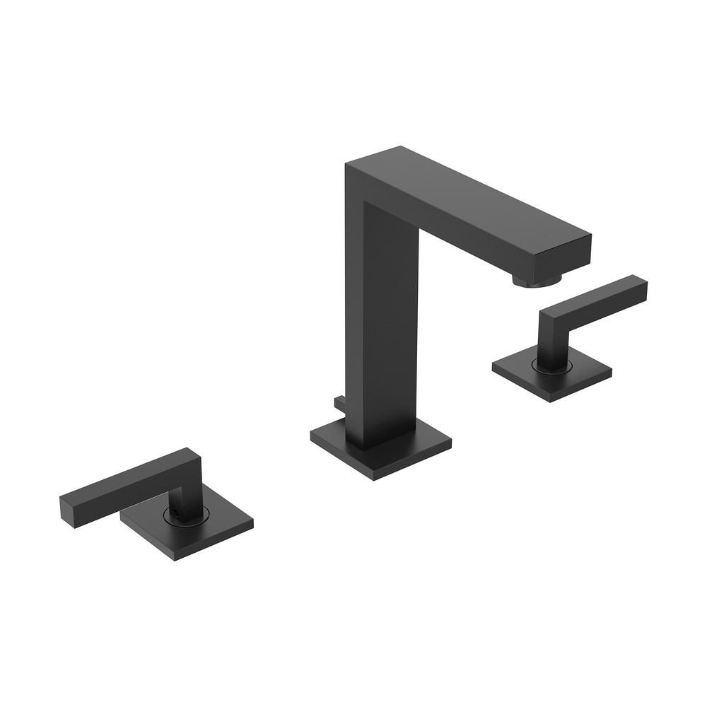 Symmons Duro 8 In Widespread 2 Handle Bathroom Faucet With Pop Up Drain Assembly In Matte Black Single Handle Bathroom Faucet Bathroom Faucets Faucet