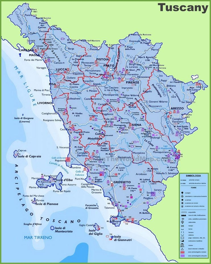 Large detailed travel map of Tuscany with cities and towns Maps