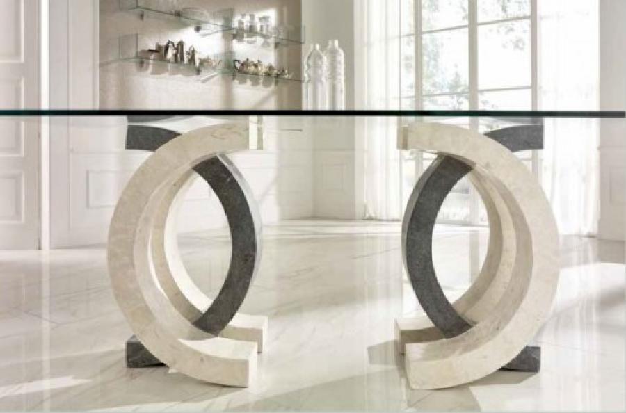 Tavolo Stones ~ Tavolo white agata gray stone 200x100 stones olimpia fs023wagsb