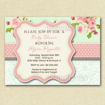 Shabby Chic Pink Roses and Mint Green Polka Dots by MommiesInk - free baby shower invitations templates printables