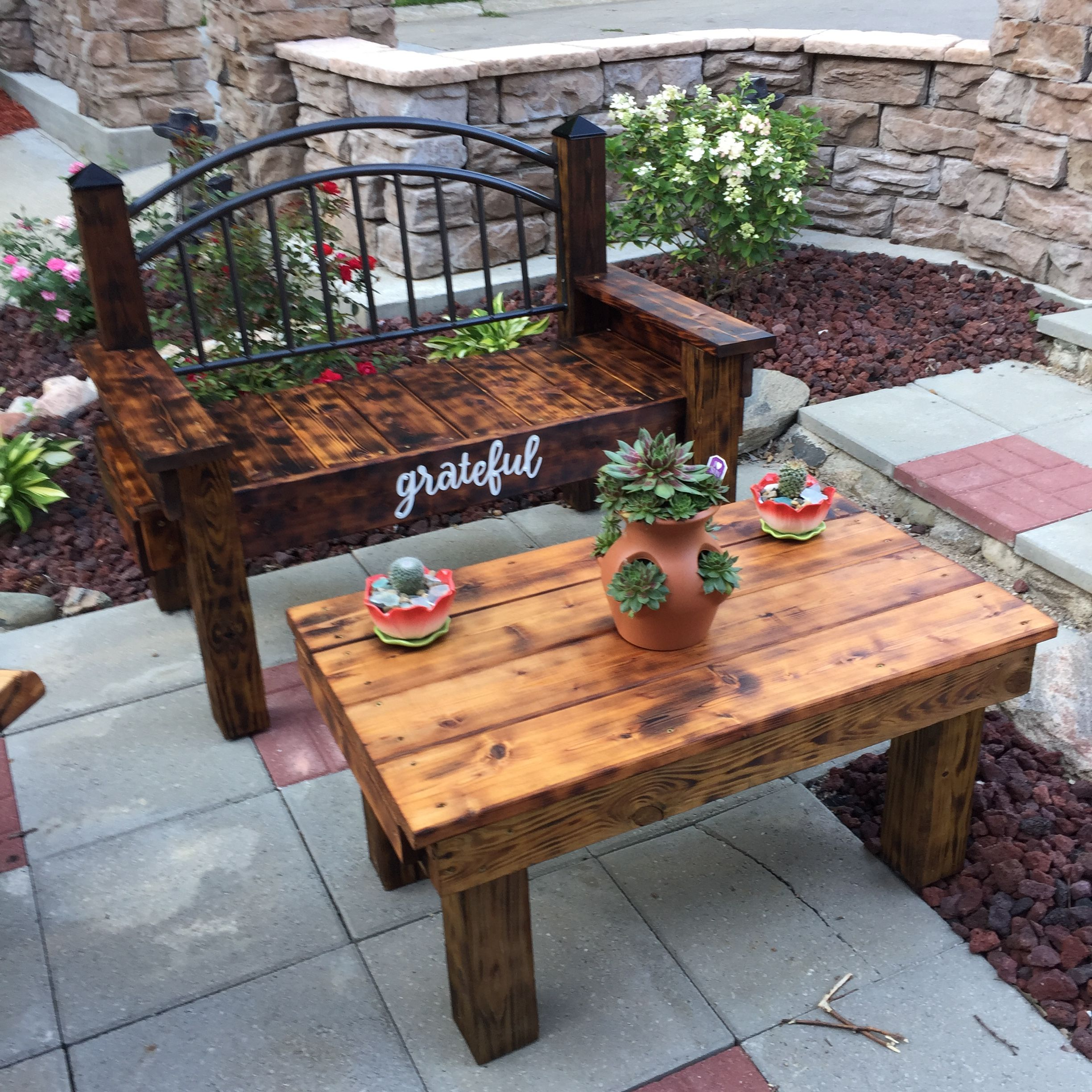 Wooden Garden Bench And Coffee Table