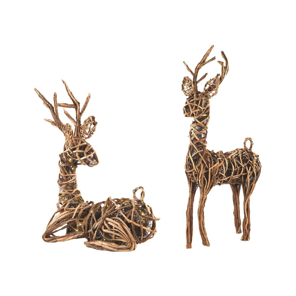 Napa Home Garden Sierra Lodge 2 Piece Grapevine Reindeer With Lights Set Reindeer Decorations Rustic Holiday Decor Rustic Holiday