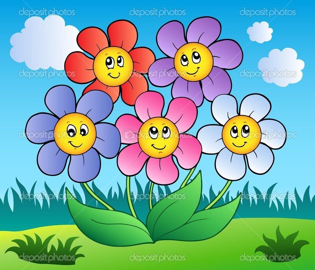 Five Cartoon Flowers On Meadow Cartoon Flowers Flower Garden Pictures Art Books For Kids