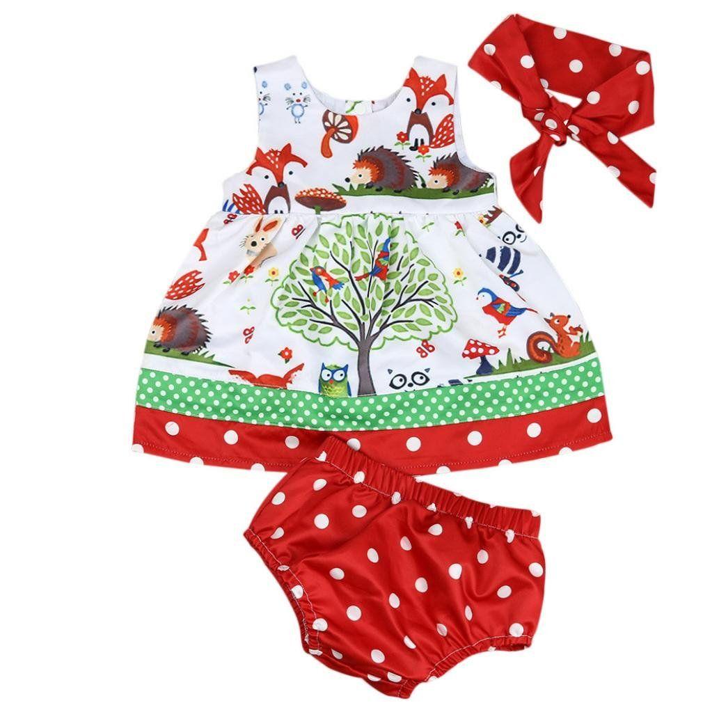 b169198fd690 GBSELL 3pcs Newborn Toddler Baby Girl Summer Clothes Animal Dress ...