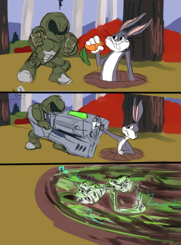 Doomguy In Looney Tunes Doom Funny Gaming Memes Slayer Meme Doom
