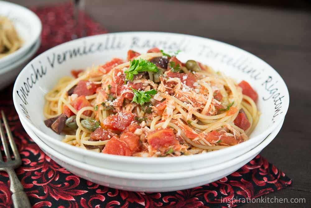 Puttanesca | Inspiration Kitchen Italian Puttanesca with garlic, anchovies, kalamata olives, capers and red pepper flakes ~ add shredded chicken for a great Italian dish.