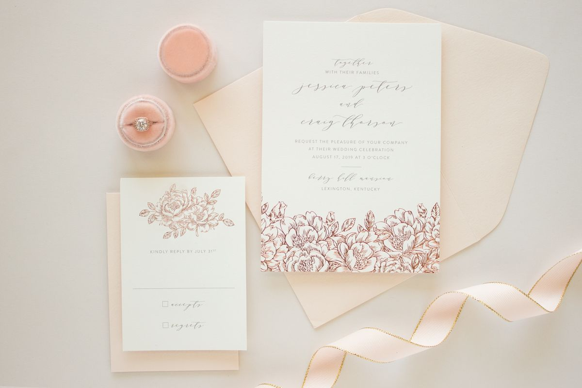 hand drawn flowers in rose gold foil stamping | foil stamped wedding ...