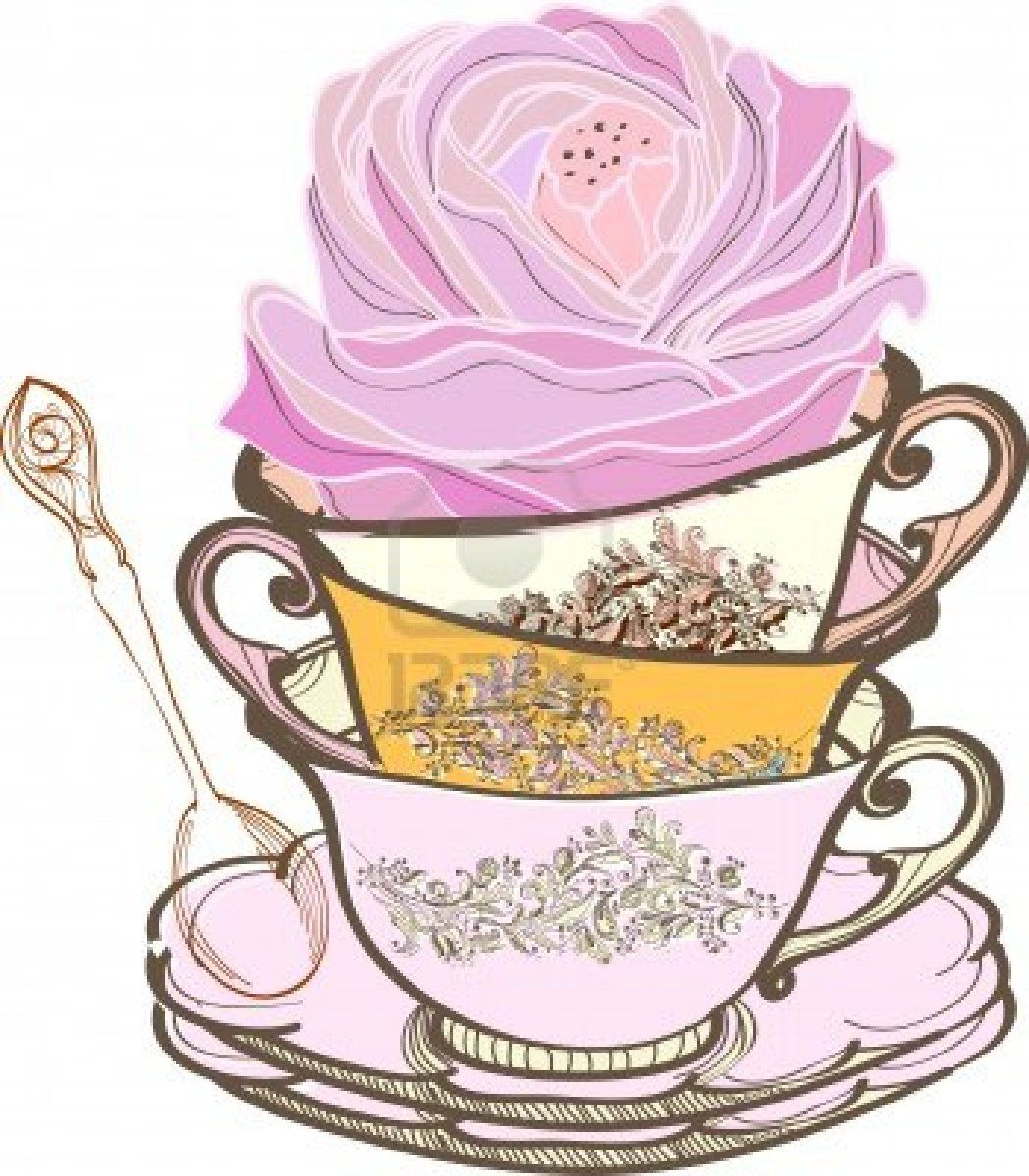 Elegant tea party invitation template with teacups cartoon vector - Tea Party Tea Cup Background With Spoon And Flower Illustration