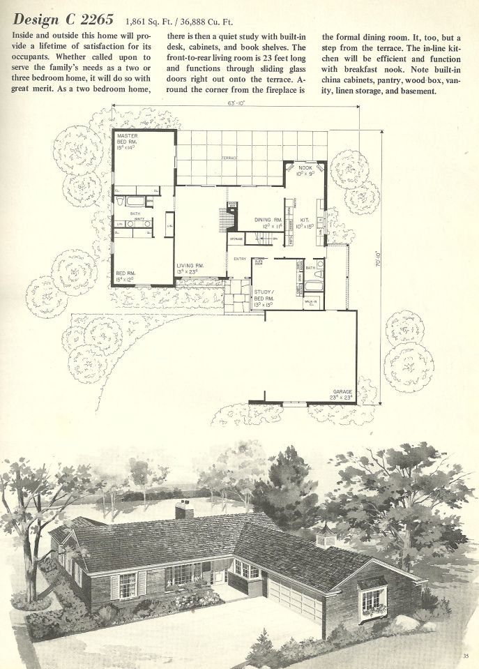 Vintage house plans mid century homes 1960s houses 1960s ranch style house plans