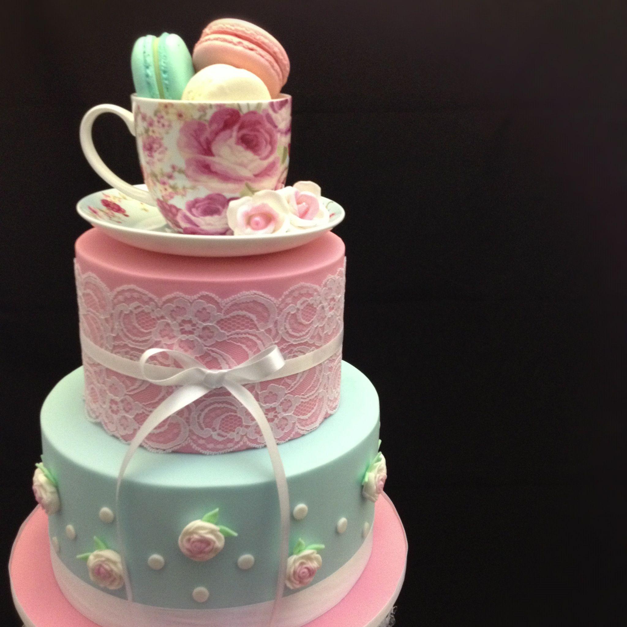 tea party bridal shower cake