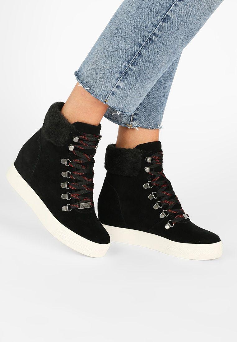 Steve Madden Windy Wedge Boots Black Zalando Co Uk Black Boots Wedge Boots Wedge Ankle Boots