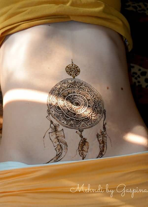 Henna Work Simple Dream Catcher Feather Temporary Tattoo On Stomach Stomach Tattoos Tattoos Heart Temporary Tattoos