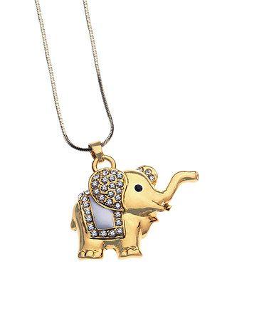 Another great find on #zulily! Swarovski® Crystal & Gold Elephant Pendant Necklace #zulilyfinds