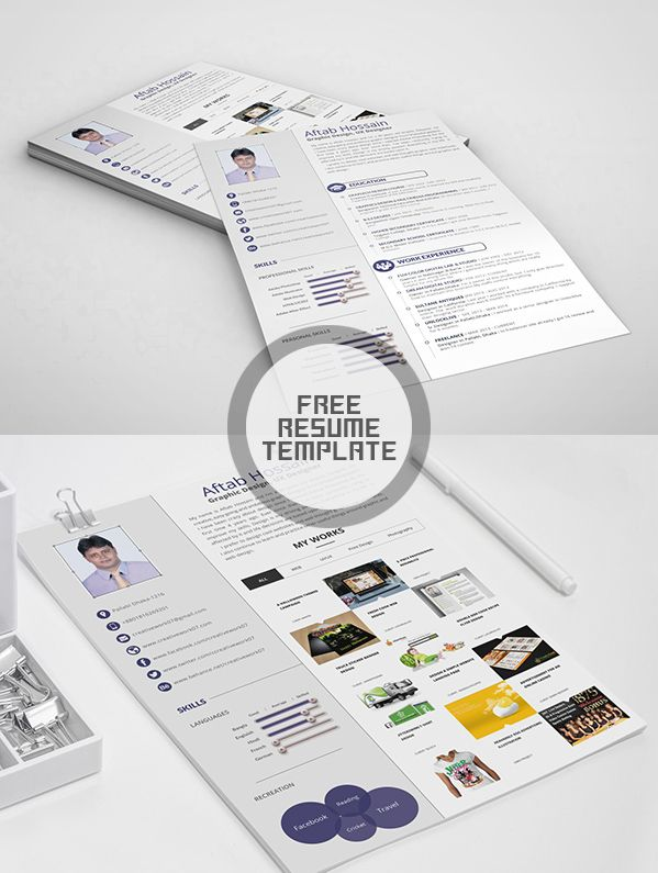 Free Two Page Resume Template PSD Резюме Pinterest Free - 2 page resume template