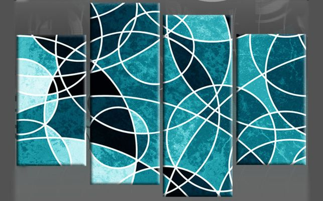Wall Canvas Circles | Circles Upon Circles Teal Abstract 4 Panel Canvas Wall  Art 40