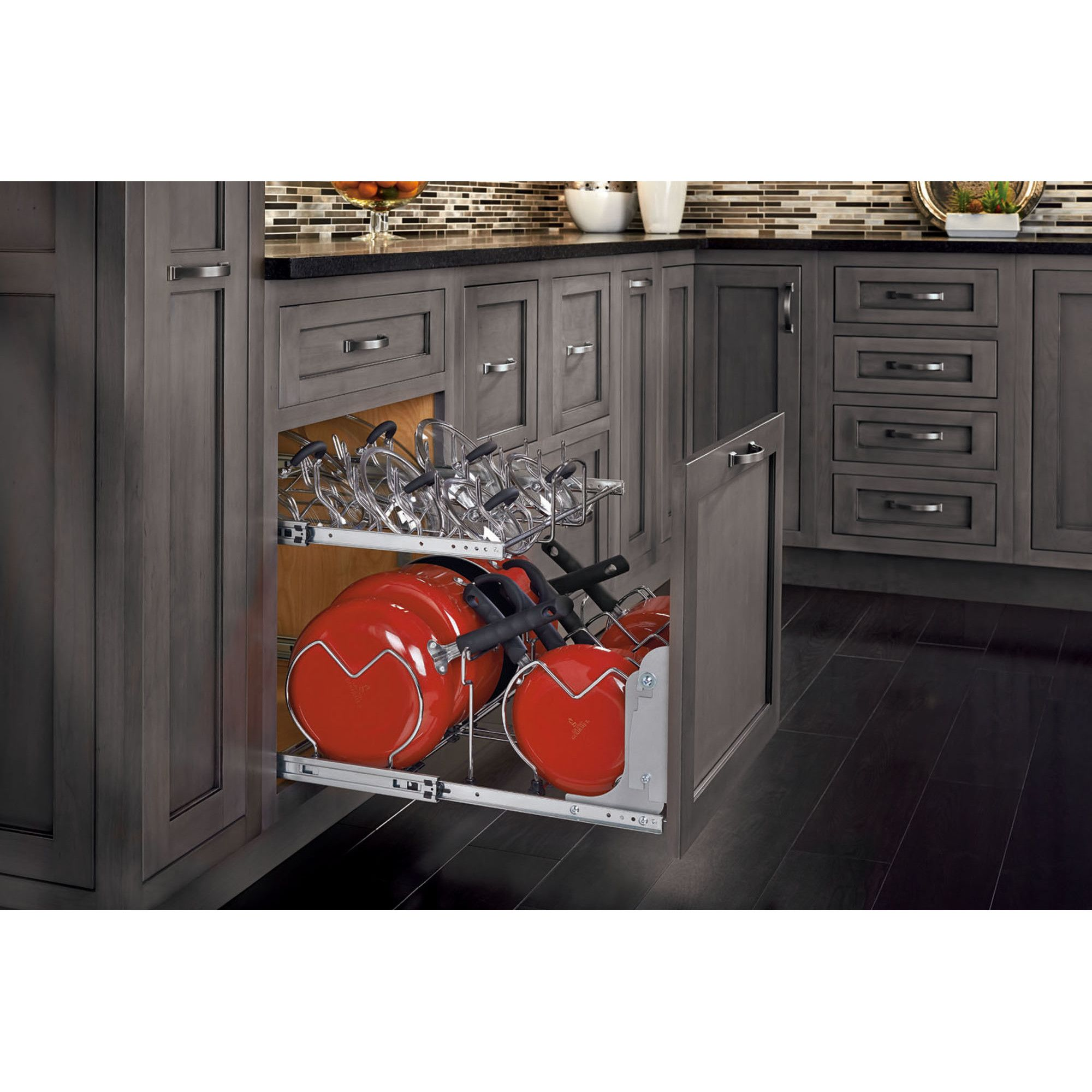 tier pull out kitchenware divider cookware shelving and kitchens