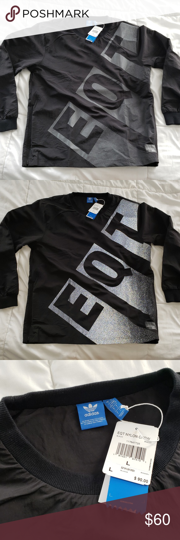 2ff510d38159 Adidas EQT Nylon Crew Pull Over Reflective Large Description  • 100% Nylon  • Adidas • Mens • EQT Nylon Crew Pull Over Reflective • Style BQ2051 • Size  ...