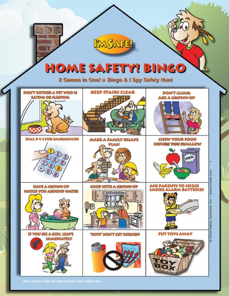 5 1713 Home Safety Bingo Game English I M Safe Home Safety Camping Safety Bingo For Kids