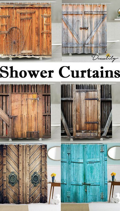 Free Shipping Worldwide Vintage Wooden Door Style Shower Curtain