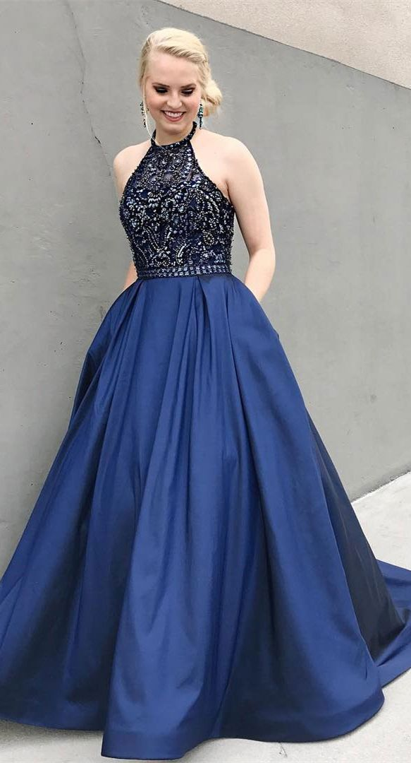 eaf1429588a Navy Blue Satin Beaded Long Prom Dresses with Pocket APD3155