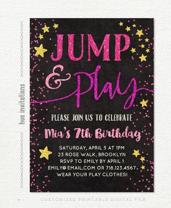 Jump Party Birthday Invitation Girls 7th Tumble And Play Tramp