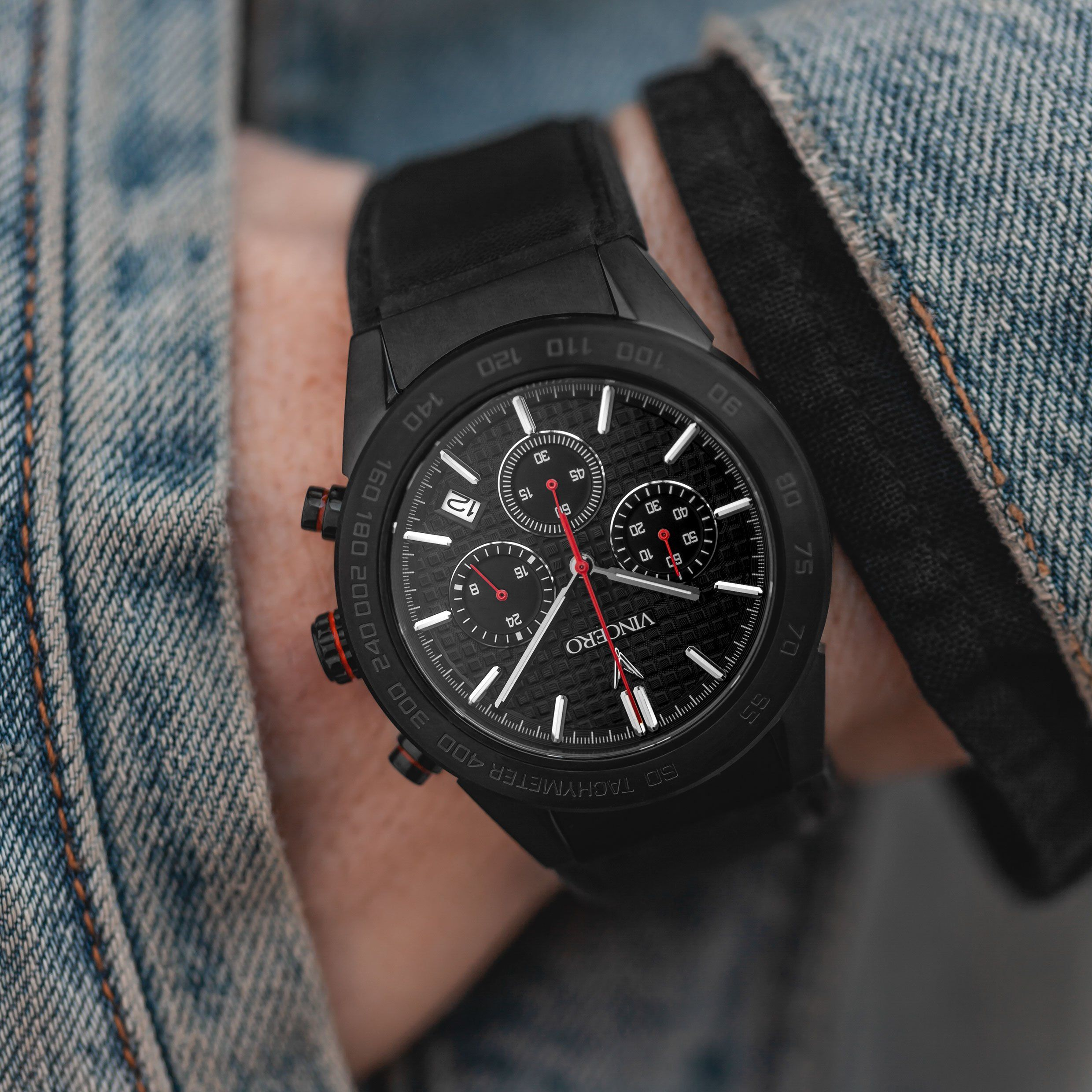 The Rogue Red Black Vincero Watches Black And Red Leather Watch Bands Watch Bands