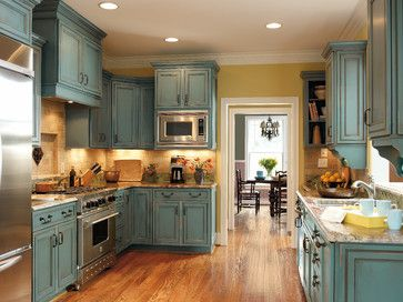 Teal Distressed Cabinetry With Yellow Accents Decora Cabinetry Traditional Ki Distressed Kitchen Cabinets Kitchen Cabinets For Sale Rustic Kitchen Cabinets