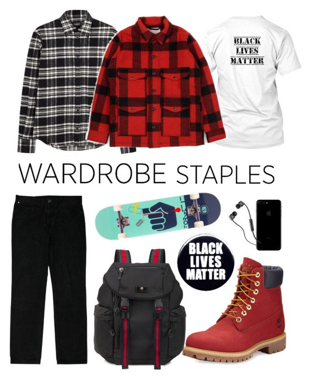 """black lives matter"" by rosemaryx ❤ liked on Polyvore featuring Dsquared2, Givenchy, Filson, Timberland, Gucci, Alien Workshop, Skullcandy, men's fashion, menswear and plaid"