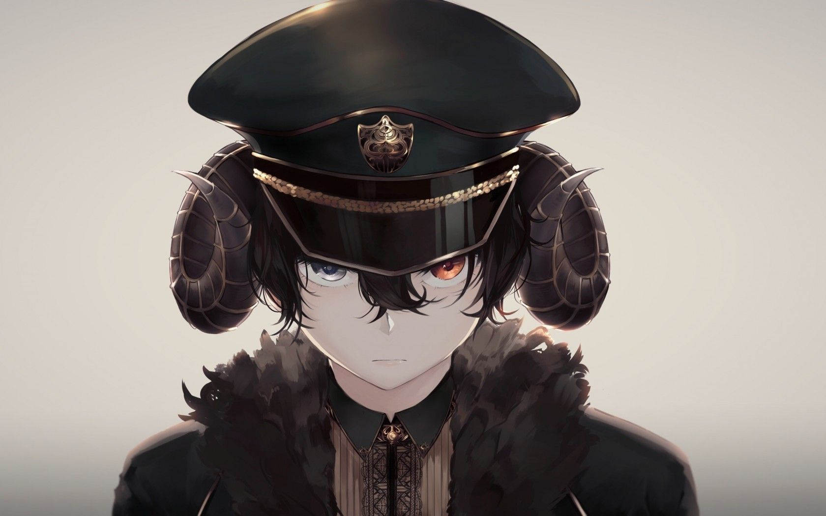 Anime Boy, Creepy, Horns, Hat, Uniform, Bicolored Eyes