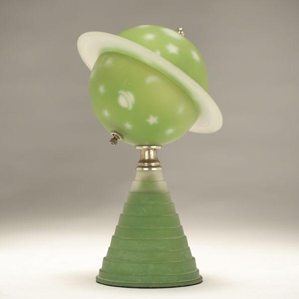 Green Satin Glass Astral Saturn Lamp 1939 World S Fair Art Deco Lighting Art Deco Lamps Art Deco Furniture