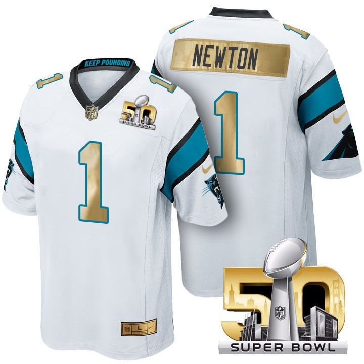 Carolina Panthers Cam Newton Limited Edition Superbowl 50 White gold Jersey  L from  78.0 348868348
