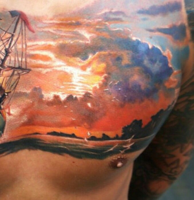 Sunrise Tattoo Cool Chest Tattoos Sky Tattoos Chest Tattoo Men