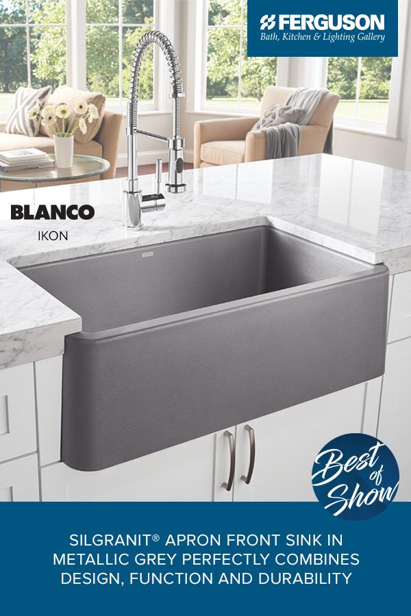 The Blanco Ikon Is A Silgranit Apron Front Sink In Metallic Grey