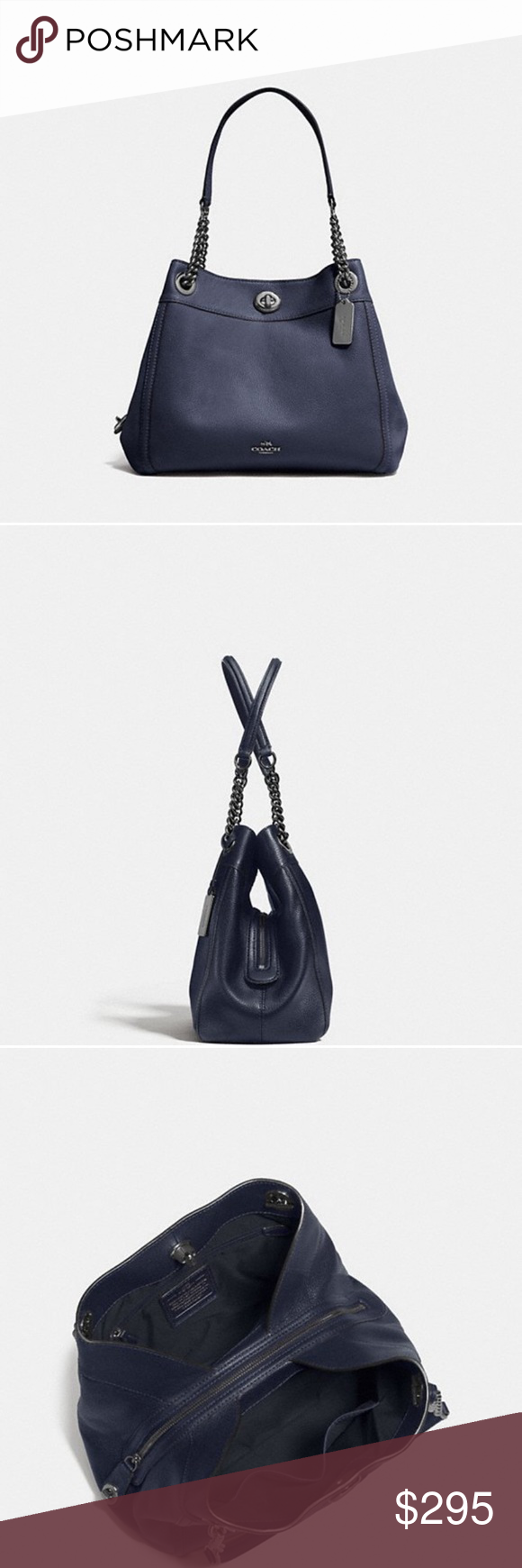 840dc33cfd42 COACH Turnlock Edie shoulder bag Beautiful pebble polished leather in navy  blue. Inside zip
