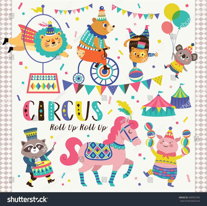 Set Of Circus Cartoon Animals Circus Illustration Cartoon Animals Doodle Illustration