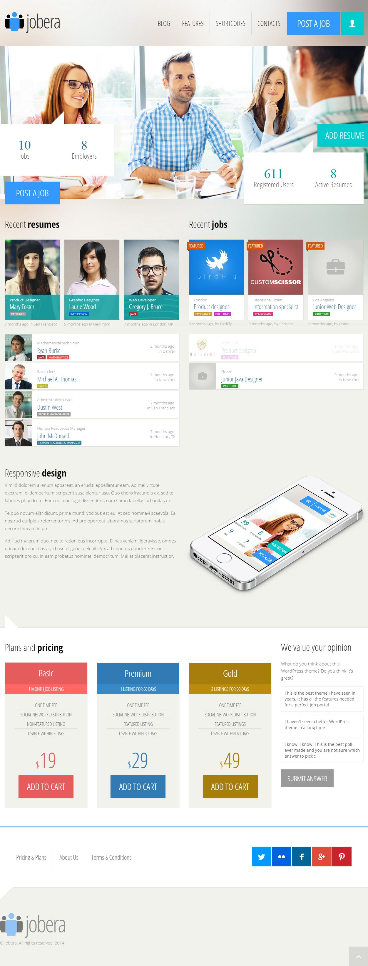 Jobera premium responsive job portal wordpress theme